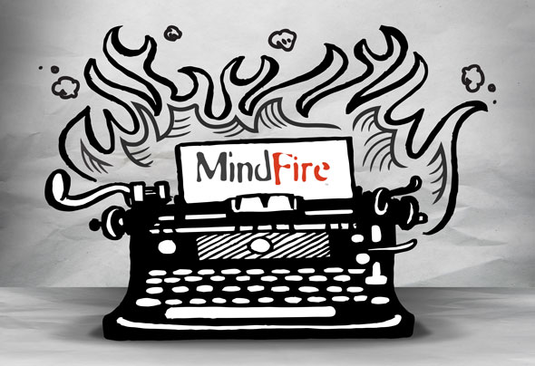 Sketched typewriter on fire with MindFire logo