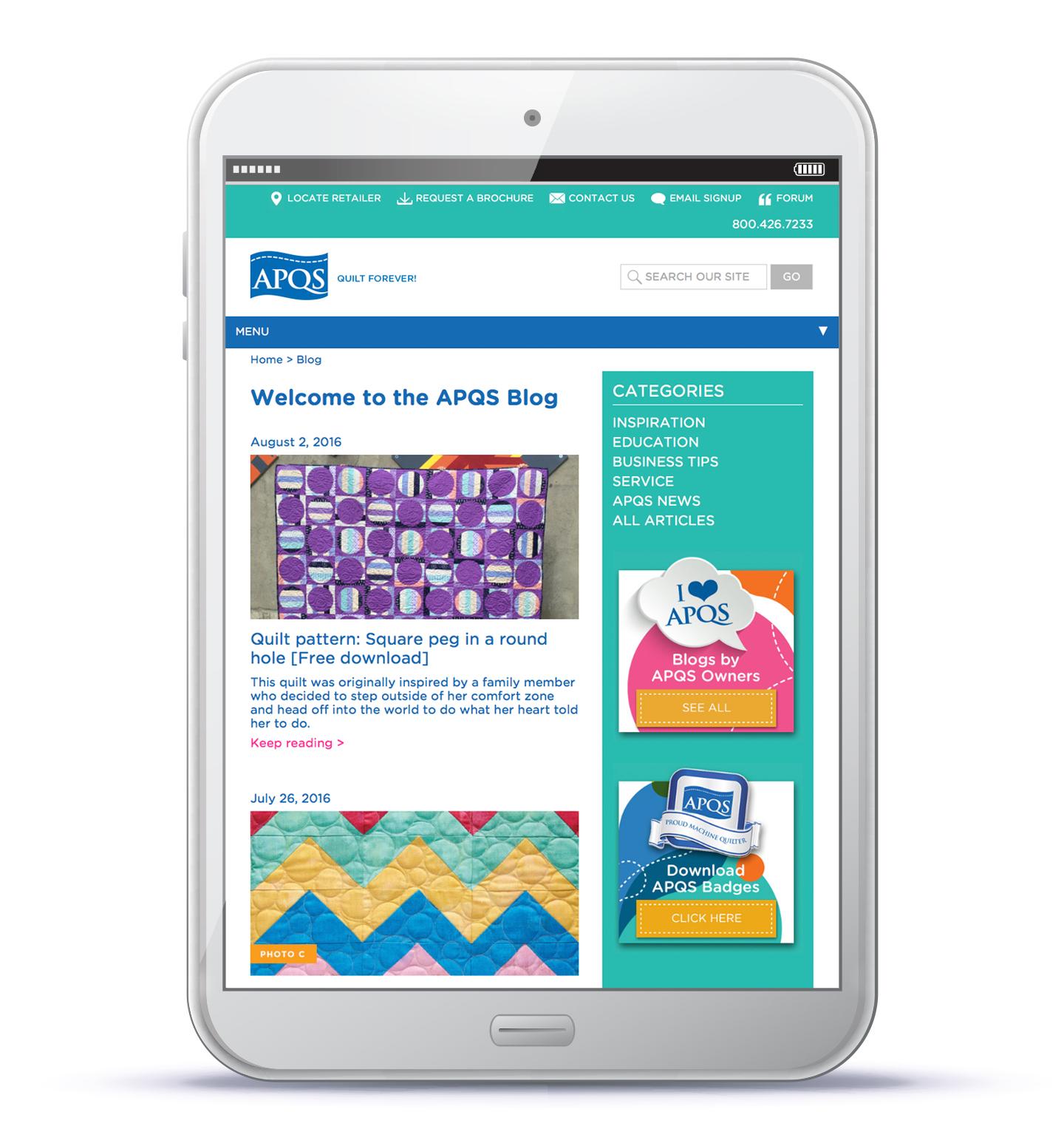 APQS, website, MindFire Communications, web development, longarm quilting, responsive web design,