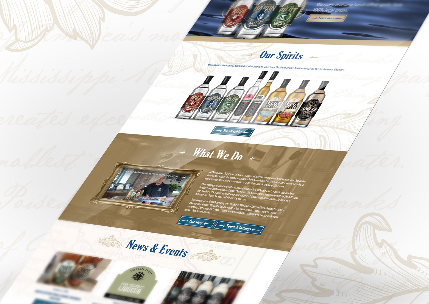Mississippi River Distilling Compnay, MRDC, MindFire Communications, website design, custom website design
