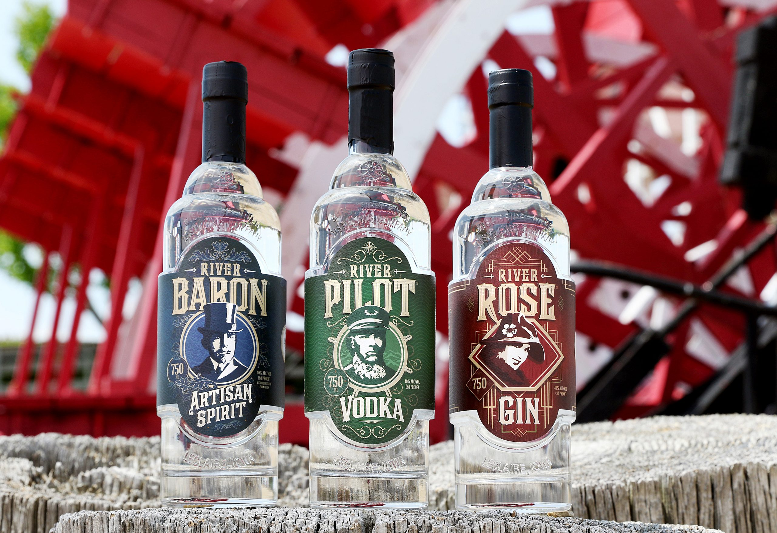 Photo of three Mississippi River Distilling Company bottles side-by-side; River Baron, River Pilot and River Rose