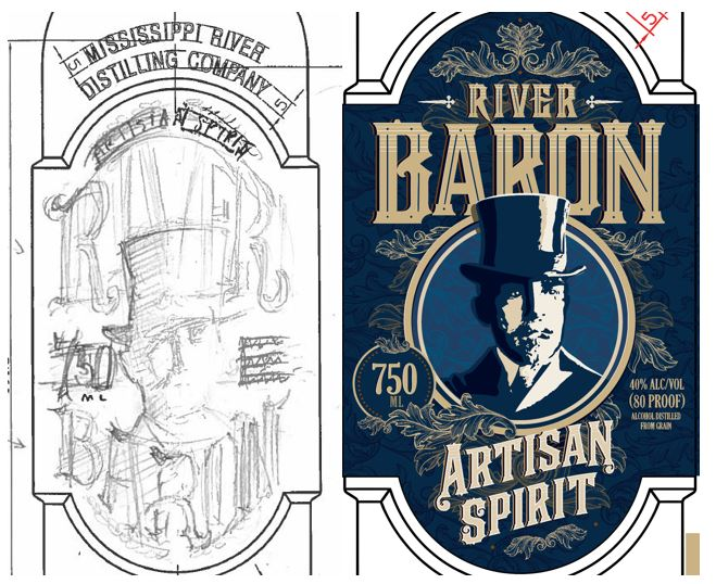sketch of river baron label next to final blue label