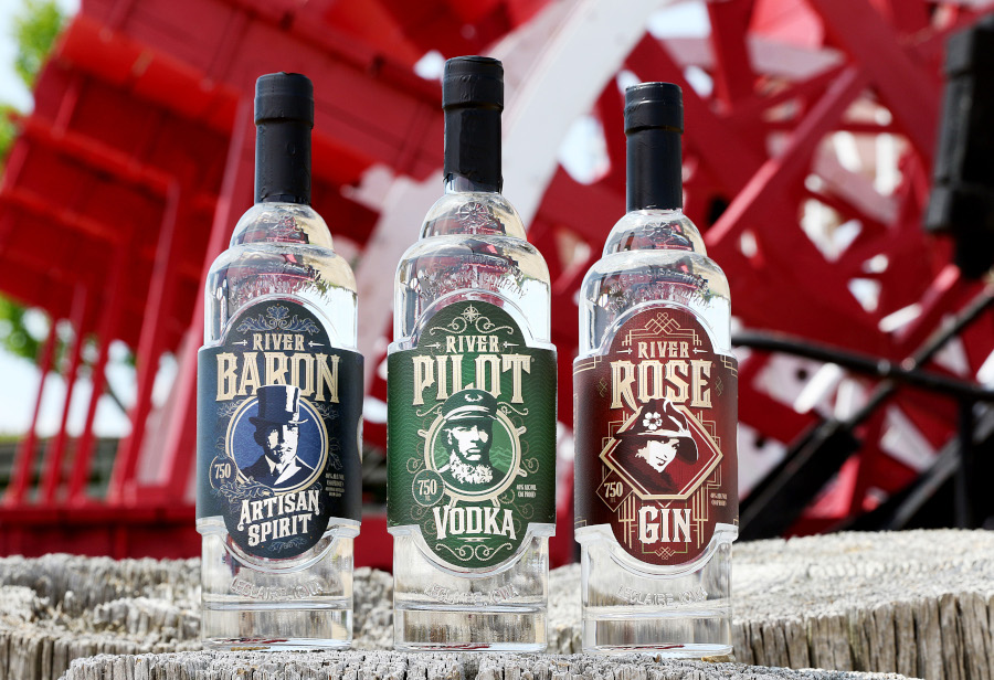 Three Mississippi River Distilling Company bottles