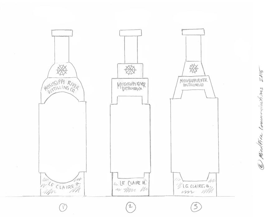 sketches of the three bottles in various shapes