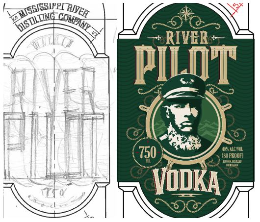 sketch of River Pilot label next to final green label