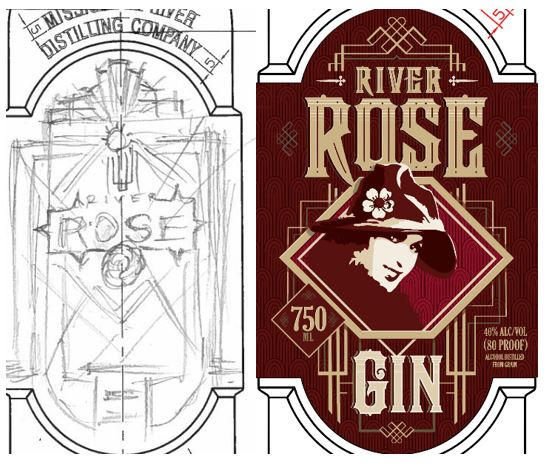 sketch of River Rose label next to final red label