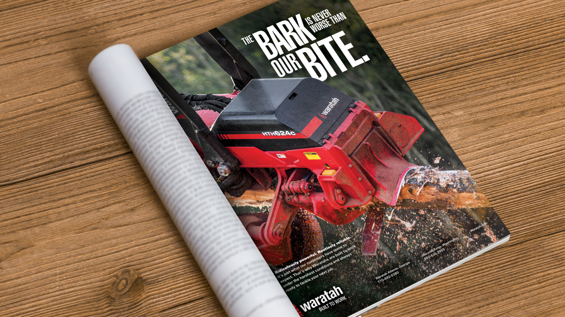 "Print ad saying ""The bark is never worse than our bite"""