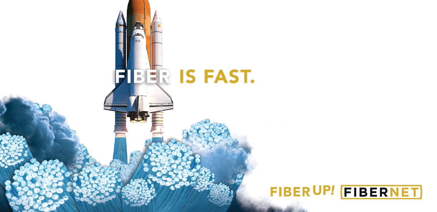 Fiber is Fast ad showing space shuttle launch and fiber at bottom
