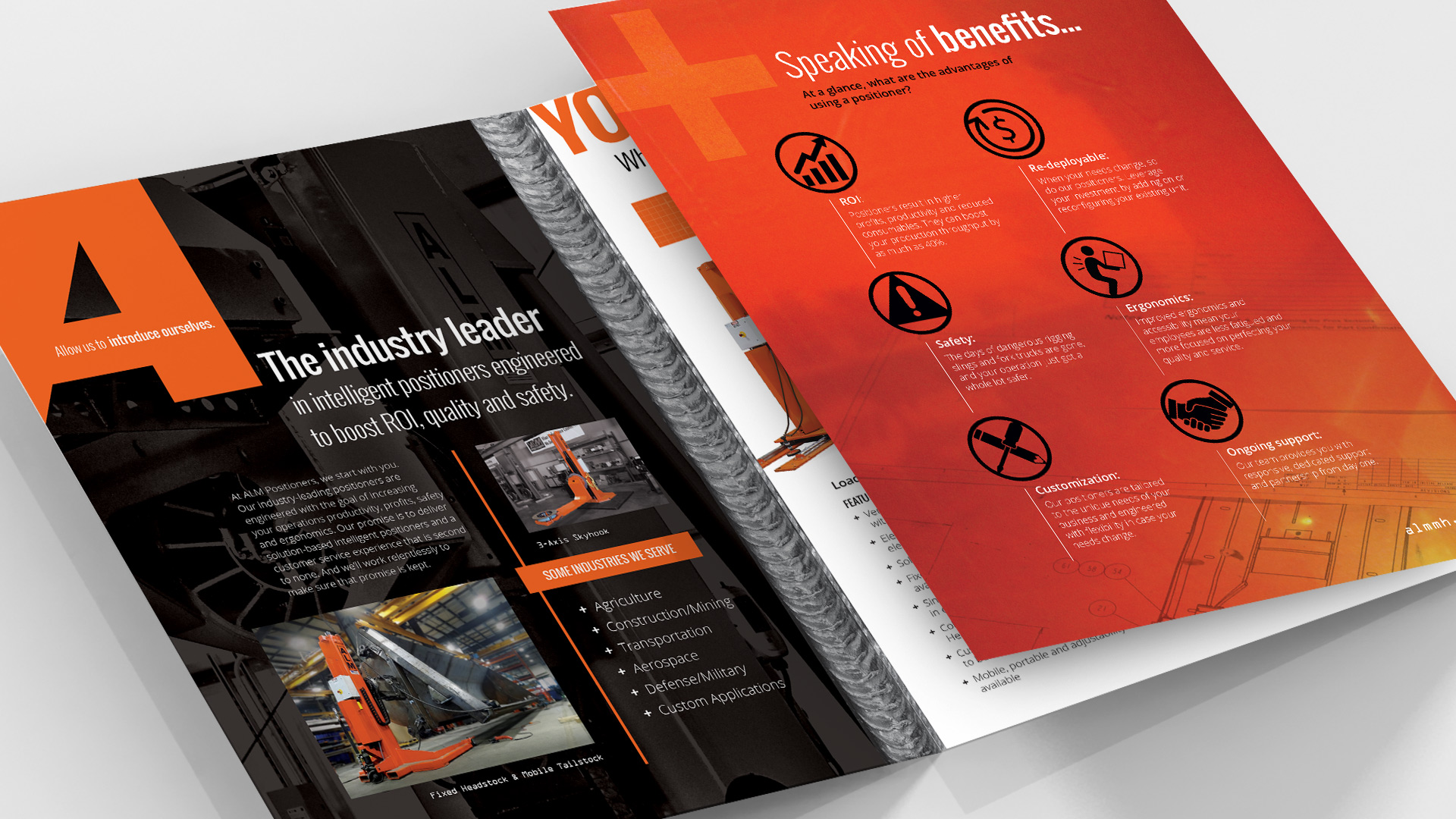 ALM sales brochure with clear visual identity