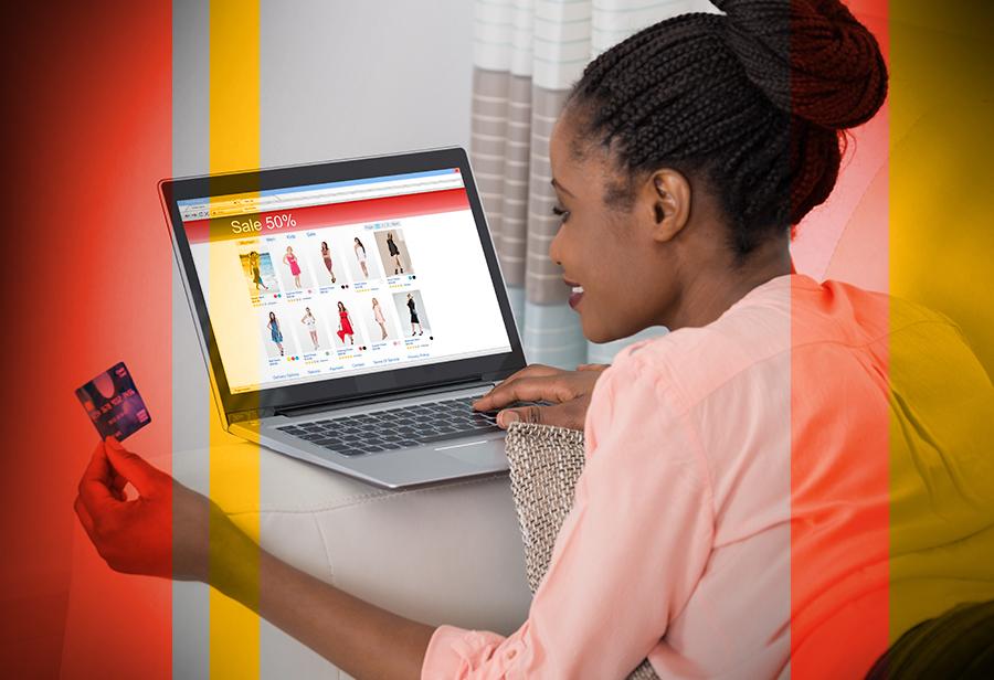 Woman online shops