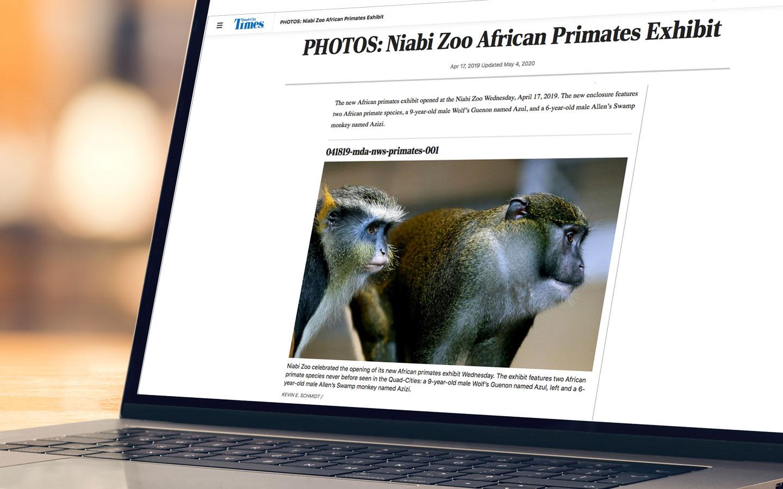 website photo of Niabi Zoo primates