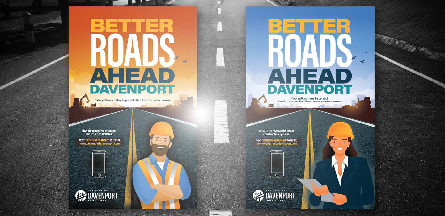 Better Roads Ahead Davenport signs