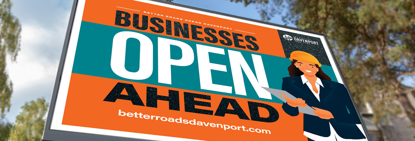 "Sign saying ""Businesses Open Ahead"""