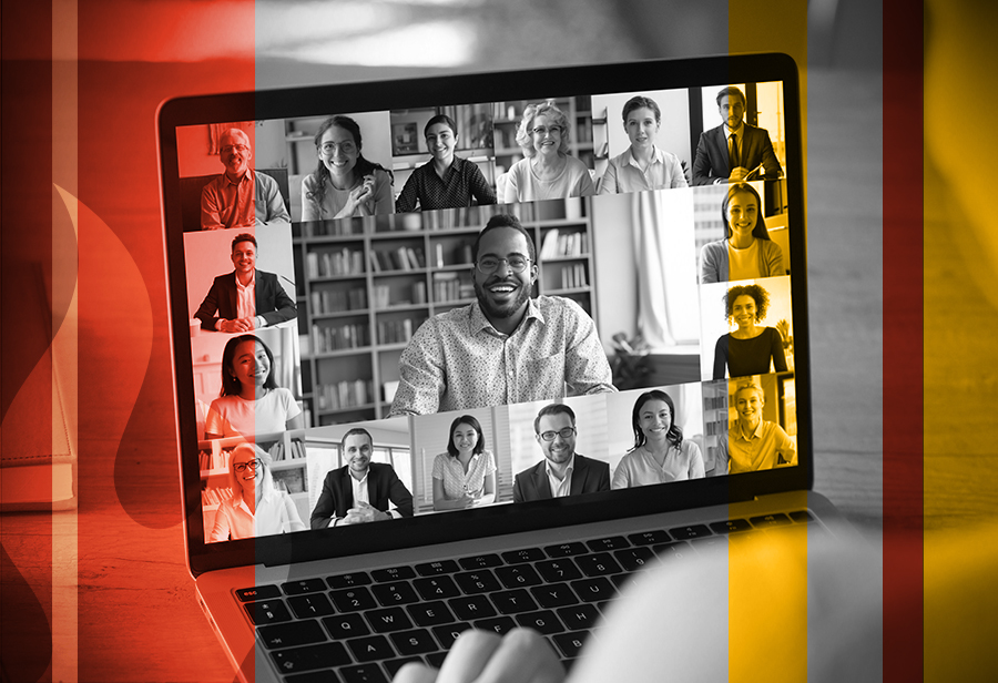 coworkers meet virtually on a computer using video chat