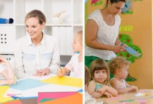 one image is super posed with a woman teaching little kids while the other looks like a more realistic view of a woman stressed with little kids