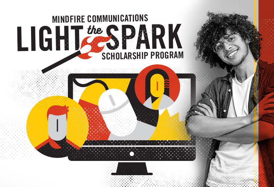 light the spark scholarship graphic with student standing beside it