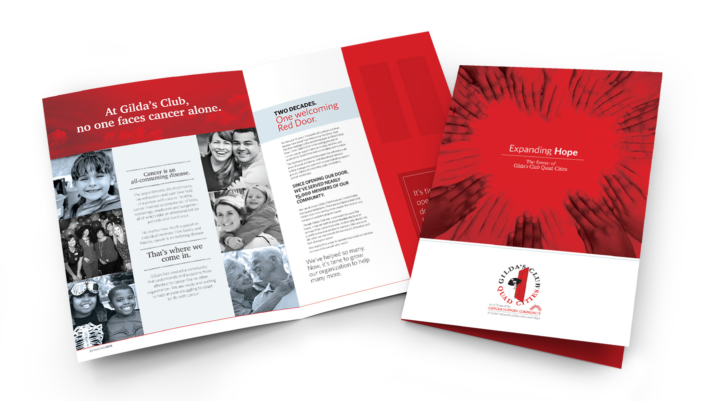Gilda's Club brochures with black and white and red images in a neat design