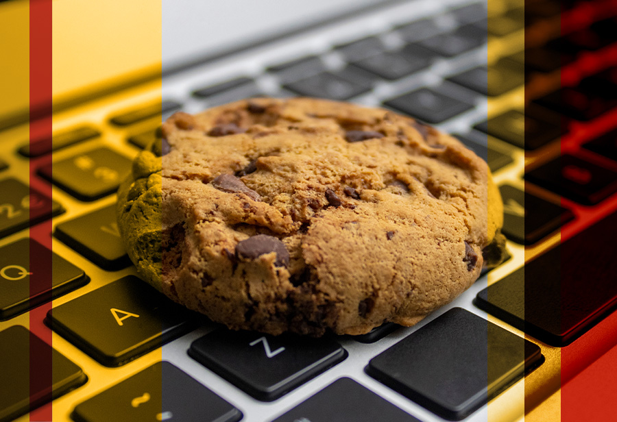 chocolate chip cookie on a computer