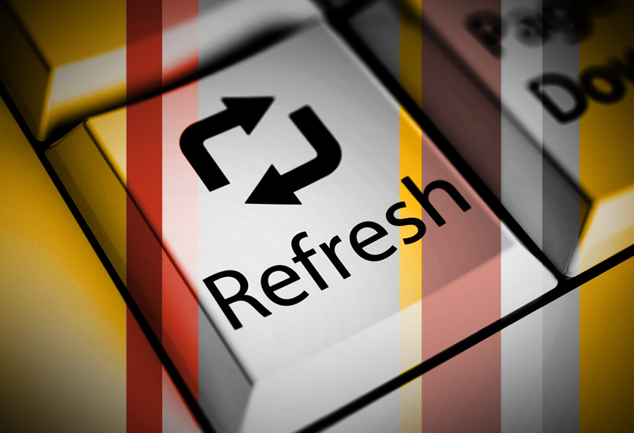 keyboard button with refresh symbol and word